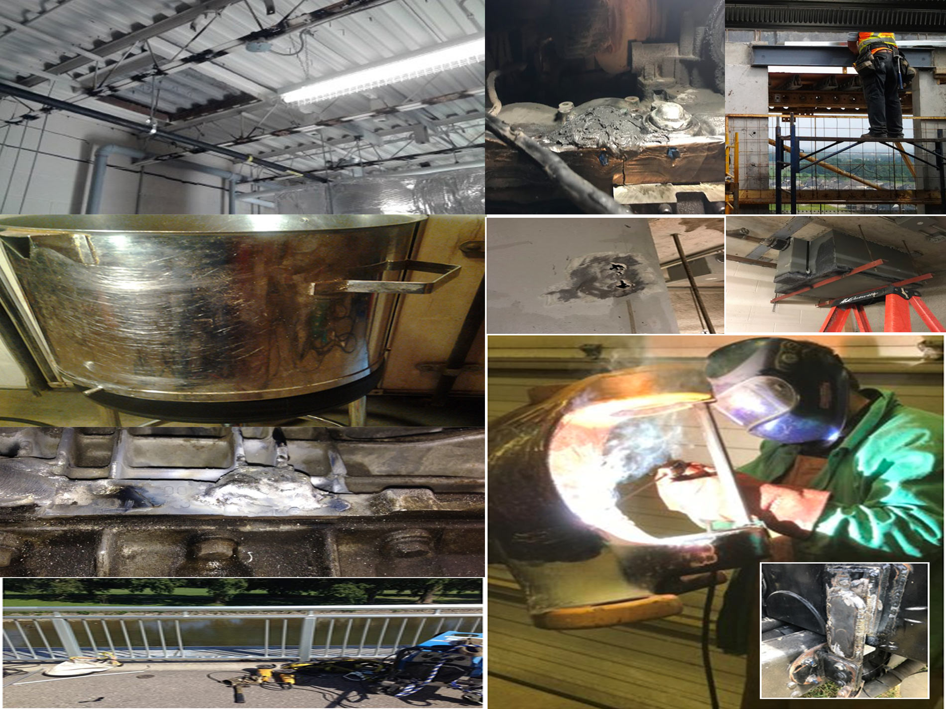 Collage of our welding company's projects that include advanced welding projects and epoxy glue projects