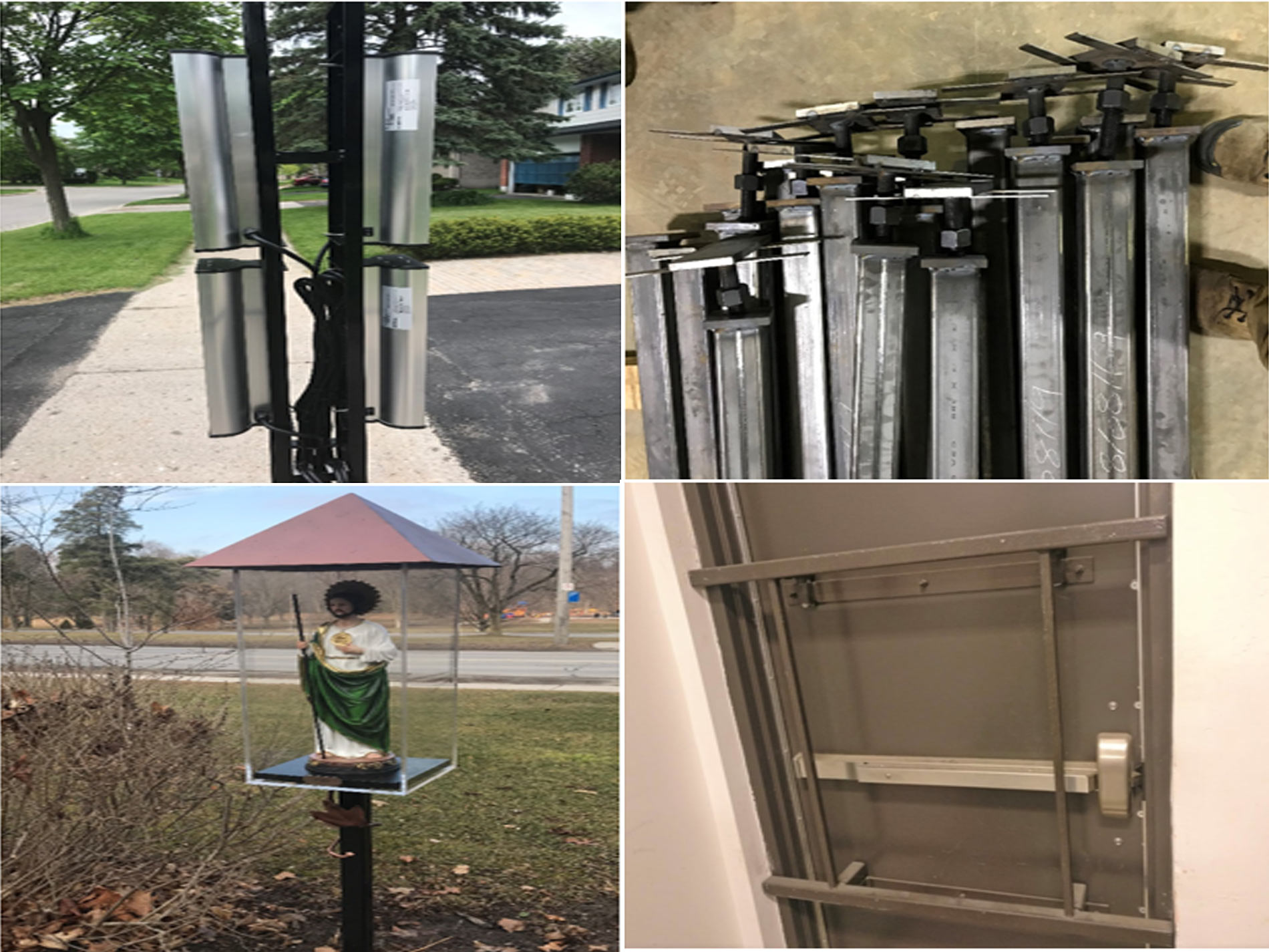 Innovative products of JW Portable Welding (2020), arm of JWD pushcart to fight Mildew and Botrytis, teleposts, display stand with acrylic box, and door security bar installed on steel door