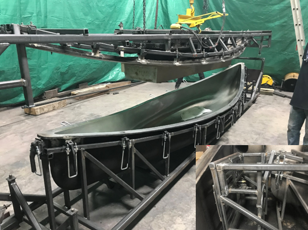 A new fabricated steel support for aluminum mold. The lid is lifted off the mold. JW Portable Welding & Repairs. London, Ontario, 2020